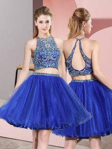 Two Pieces Quinceanera Dama Dress Royal Blue Scoop Tulle Sleeveless Mini Length Backless