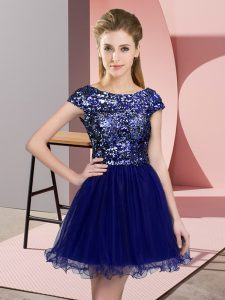 Cap Sleeves Mini Length Sequins Zipper Damas Dress with Blue