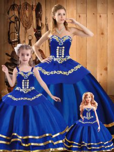 Adorable Royal Blue Lace Up Sweetheart Embroidery Quinceanera Gowns Organza Sleeveless