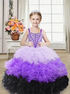 Straps Sleeveless Organza Pageant Gowns For Girls Beading and Ruffles Lace Up