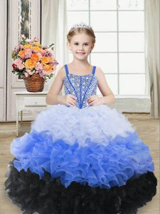 Sleeveless Lace Up Floor Length Beading and Ruffles Pageant Gowns