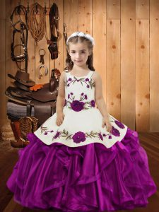 Custom Made Sleeveless Embroidery and Ruffles Lace Up Little Girls Pageant Dress Wholesale