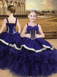 Trendy Purple Straps Lace Up Beading and Ruffles Little Girls Pageant Dress Sleeveless