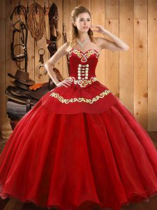 Elegant Red Sweetheart Lace Up Ruffles 15 Quinceanera Dress Sleeveless