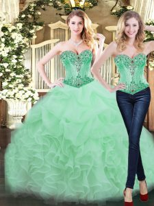 Customized Organza Sleeveless Floor Length Sweet 16 Dresses and Ruffles