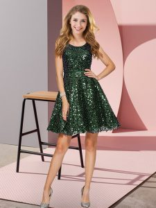 Traditional Olive Green Quinceanera Court of Honor Dress Prom and Party and Wedding Party with Sequins Scoop Sleeveless Zipper