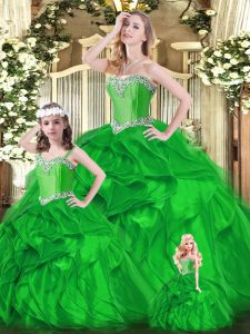 Floor Length Ball Gowns Sleeveless Green Quinceanera Gown Lace Up
