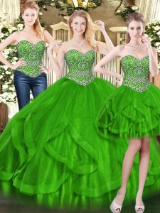 Custom Made Floor Length Green Quinceanera Dresses Sweetheart Sleeveless Lace Up