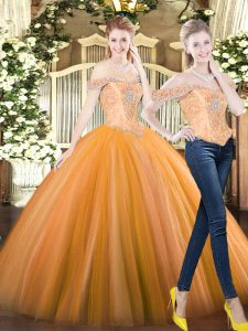 Vintage Tulle Sleeveless Floor Length Quinceanera Dresses and Beading
