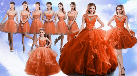 Ideal Scoop Sleeveless Sweet 16 Dress Floor Length Beading and Ruffles Rust Red Organza