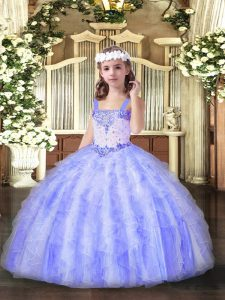 Fancy Straps Sleeveless Kids Formal Wear Floor Length Beading and Ruffles Lavender Organza