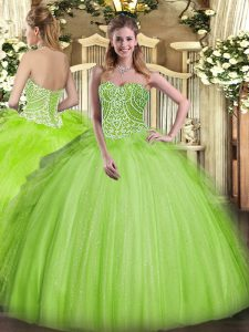 Colorful Yellow Green Lace Up Sweetheart Beading and Ruffles Vestidos de Quinceanera Organza Sleeveless