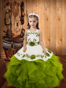 High Class Olive Green Ball Gowns Tulle Straps Sleeveless Embroidery and Ruffles Floor Length Lace Up Girls Pageant Dresses