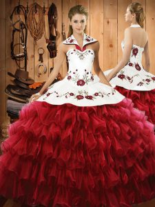 Fashionable Ball Gowns 15 Quinceanera Dress Wine Red Halter Top Satin and Organza Sleeveless Floor Length Lace Up