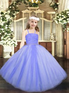 Floor Length Zipper Little Girls Pageant Gowns Lavender for Party and Quinceanera with Beading and Lace