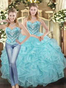 Baby Blue Sweet 16 Dresses Military Ball and Sweet 16 and Quinceanera with Beading and Ruffles Sweetheart Sleeveless Lace Up