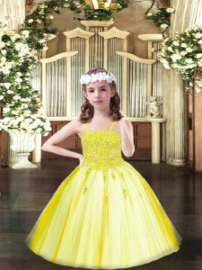 Adorable Yellow Lace Up Little Girl Pageant Dress Beading Sleeveless Floor Length