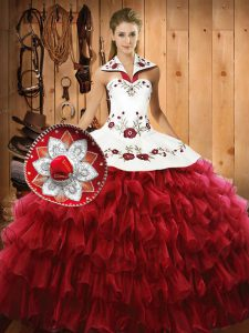 Best Floor Length Wine Red Sweet 16 Dresses Organza Sleeveless Embroidery and Ruffled Layers