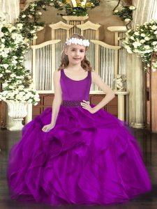 Fuchsia Ball Gowns Organza Scoop Sleeveless Beading and Ruffles Floor Length Zipper Little Girls Pageant Gowns