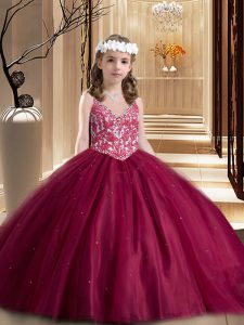 Wine Red Ball Gowns V-neck Sleeveless Tulle Floor Length Lace Up Beading and Appliques Little Girls Pageant Gowns