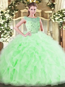 Most Popular Floor Length Ball Gowns Sleeveless Apple Green Sweet 16 Quinceanera Dress Zipper