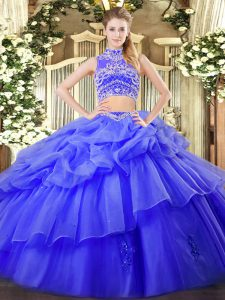 Floor Length Blue Ball Gown Prom Dress High-neck Sleeveless Backless