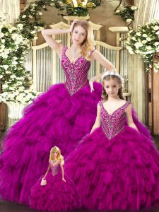 Graceful Fuchsia Ball Gowns Straps Sleeveless Tulle Floor Length Lace Up Beading and Ruffles 15th Birthday Dress