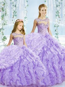 Fashion Floor Length Ball Gowns Sleeveless Lavender Quinceanera Dress Lace Up