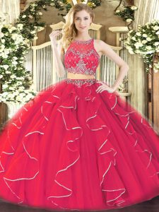 Scoop Sleeveless Quinceanera Gown Floor Length Ruffles Coral Red Organza