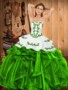 Embroidery and Ruffles 15 Quinceanera Dress Lace Up Sleeveless Floor Length