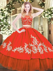 Colorful Red Two Pieces Tulle Scoop Sleeveless Beading and Appliques Floor Length Zipper Quince Ball Gowns