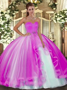 Best Fuchsia Ball Gowns Beading Quinceanera Dress Lace Up Tulle Sleeveless Floor Length