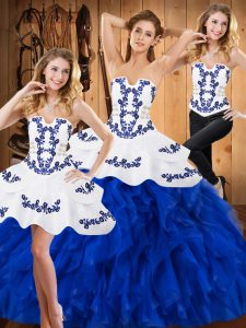 Strapless Sleeveless Sweet 16 Quinceanera Dress Floor Length Embroidery and Ruffles Blue And White Satin and Organza