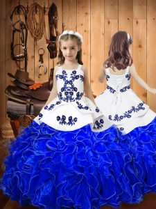 Royal Blue Organza Lace Up Pageant Dress for Teens Sleeveless Floor Length Embroidery and Ruffles