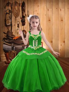 Green Straps Lace Up Embroidery Little Girl Pageant Gowns Sleeveless