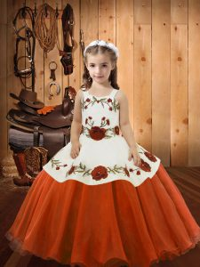 Sleeveless Organza Floor Length Lace Up Girls Pageant Dresses in Orange Red with Embroidery