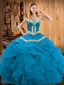 Customized Teal Lace Up Sweetheart Embroidery and Ruffles Quince Ball Gowns Satin and Organza Sleeveless