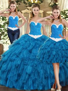 Comfortable Teal Sweetheart Lace Up Ruffles Sweet 16 Dress Sleeveless