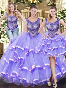Captivating Lavender Sleeveless Tulle Lace Up Sweet 16 Quinceanera Dress for Military Ball and Sweet 16 and Quinceanera