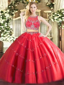 Red Zipper Scoop Beading Quinceanera Gown Tulle Sleeveless