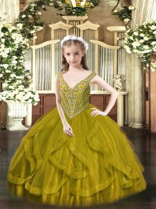 Sleeveless Lace Up Floor Length Beading and Ruffles Little Girl Pageant Gowns