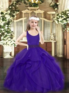 Nice Scoop Sleeveless Child Pageant Dress Floor Length Beading and Ruffles Purple Tulle