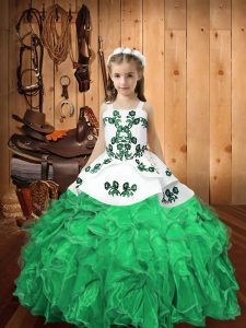 Nice Turquoise Straps Neckline Embroidery and Ruffles Pageant Gowns For Girls Sleeveless Lace Up