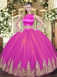 Classical Sleeveless Criss Cross Floor Length Appliques Quinceanera Gown