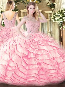 Hot Selling Baby Pink Ball Gowns Bateau Sleeveless Tulle Sweep Train Zipper Beading and Ruffled Layers Quince Ball Gowns