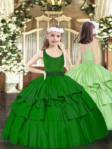 Dark Green Organza Zipper Scoop Sleeveless Floor Length Little Girls Pageant Gowns Beading