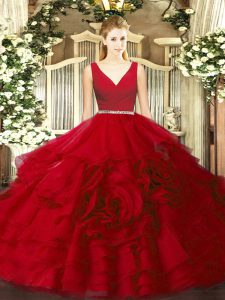Custom Design Floor Length Wine Red Vestidos de Quinceanera V-neck Sleeveless Zipper