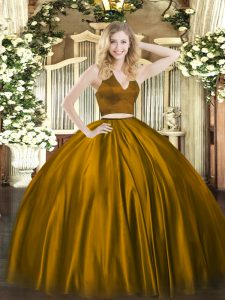 Brown Sweet 16 Quinceanera Dress Military Ball and Sweet 16 and Quinceanera with Ruching Halter Top Sleeveless Zipper