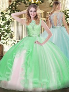 Ball Gowns Sweet 16 Dresses Apple Green Scoop Organza Sleeveless Floor Length Backless