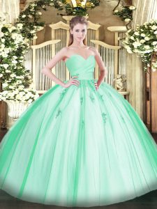 Apple Green Ball Gowns Tulle Sweetheart Sleeveless Beading and Appliques Floor Length Lace Up Sweet 16 Dress